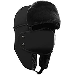 AKASO Winter Hat with Ear Flaps, Trooper Trapper Hat, Detachable Face Mask, Windproof Waterproof and Breathable, Faux Fur Ushanka Hunting Hat,Snow Hat for Men & Women, Free Neck Gaiter Included