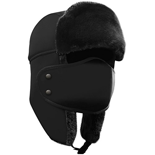 AKASO Winter Hat with Ear Flaps, Trooper Trapper Hat, Detachable Face Mask, Windproof Waterproof and Breathable, Faux Fur Ushanka Hunting Hat, Snow Hat, Free Neck Gaiter Included (Hat Brown Fur)