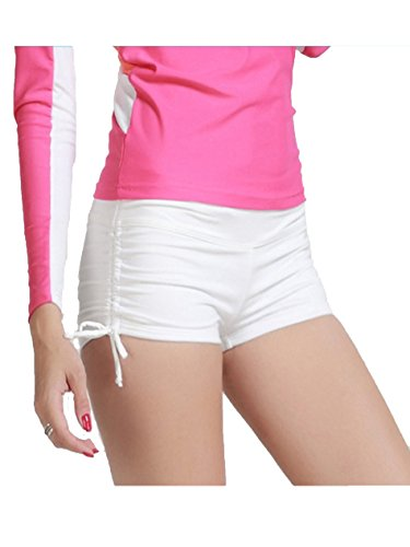 Women's Wide Waistband Swimsuit Bottom Mini Shorts White Large/29.9 - Suit Shorts Womens White