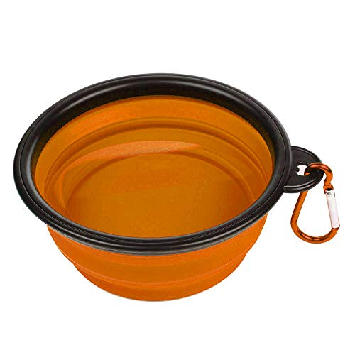 Mixpring Foldable Bowl for Pet, Portable Silicone Durable Water & Food Feeding Dog Cat Bowl with Buckle