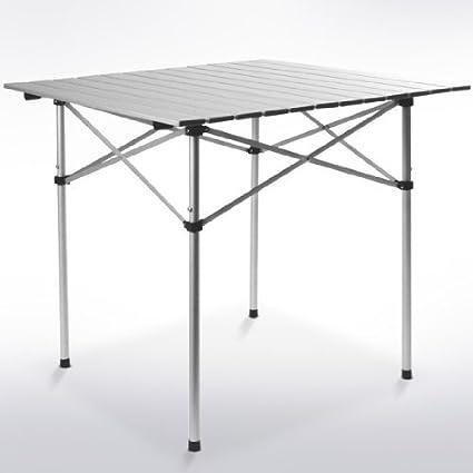 Mesa de camping con soporte enrollable, ajustable en altura, plegable,para pícnic, ferias y jardín, de aluminio: Amazon.es: Deportes y aire libre