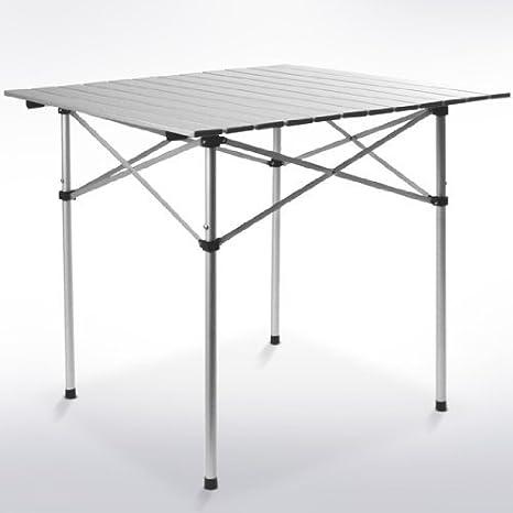 Mesa de camping con soporte enrollable, ajustable en altura ...
