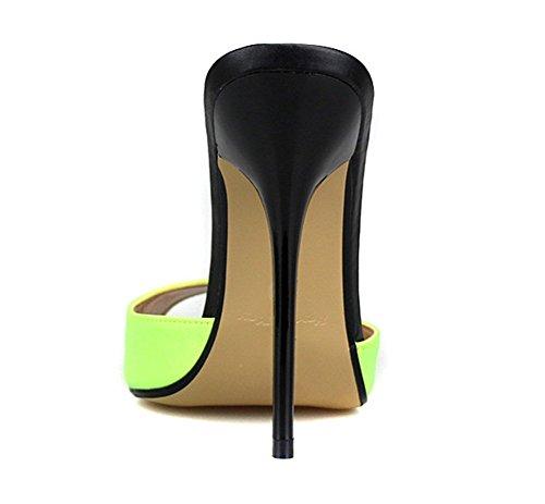GAIHU Slingback Sandales femmes talon haut Chaussures à enfiler Chaussons Noir Rouge été Ladies Stiletto Peep Toe Dress Taille du groupe 40-49 yellow ik0A5st