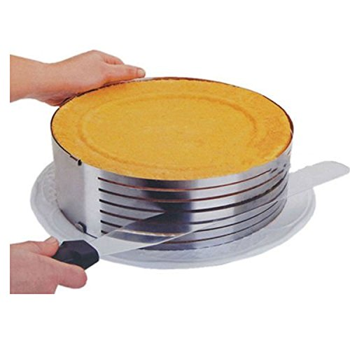 TOAO Adjustable Stainless Steel Mousse Mould Layer Cake Slicer Kit, Layered Slicer Cake Ring Set Baking Tool Kit