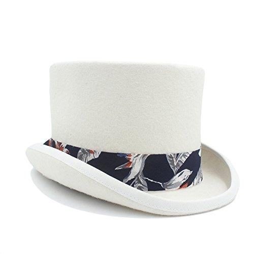 Con color Duoshengzhtg Lana Tamaño 57cm Blanco De Lady High Blanco Mujer Elegante Jazz Para Loco Sombrero Azul Patrón end 6cq86rvTw