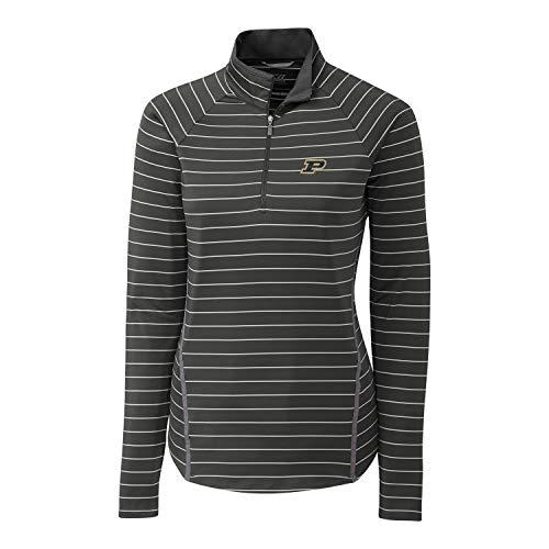 Cutter & Buck NCAA Purdue Boilermakers Long Sleeve Pencil Stripe Evie Half Zip, Elemental Grey, XXL
