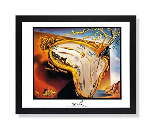 Solid Wood Black Framed Salvador Dali Moment of Explosion Clock Pictures Art Print