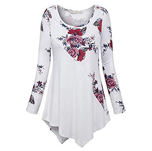HULKAY Womens Long Sleeve Printed Patchwork Irregular Hem Loose Fit Swing Tunic Tops Basic T Shirt Plus Size(White,2XL)