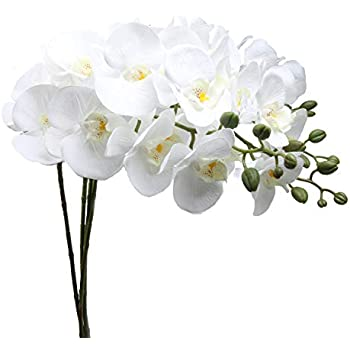 """JAROWN 4pcs 30/"""" Phalaenopsis Orchid Artificial Branches Real Touch Latex Flow..."""