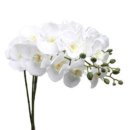 U'Artlines 38 Inch Artificial Phalaenopsis Flowers Branches Silk Orchids Flowers for Home Office Wedding Decoration,Pack of 4 (4pcs White) (Branches Silk)