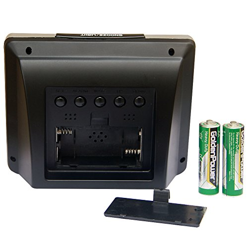 Jumbo Atomic Clock Self-Setting Self-Adjusting with LCD Backlight Display & Temperature, Powered Alarm HM27