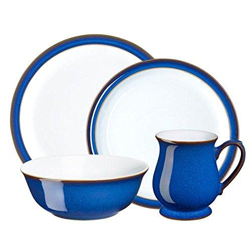 Denby 16 Piece Imperial Blue Dinnerware Set, Royal Blue Cobalt Blue Dinnerware Collection