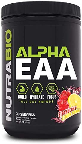 NutraBio Alpha EAA Strawberry Lemon Bomb All-Day Recovery, Focus, and Hydration Supplement