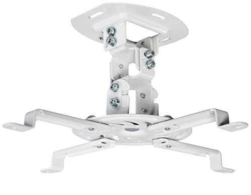 VIVO Universal Adjustable White Ceiling Projector | Projection Mount Extending Arms Mounting Bracket - Projector Accessories Ceiling Mount