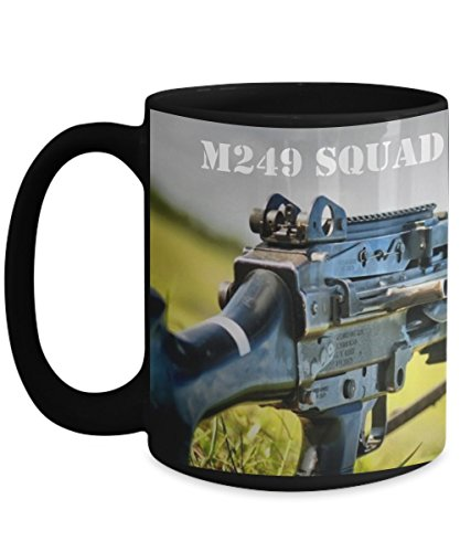 Military Coffee Mug - M249 Squad Automatic Weapon (SAW), Light Machine Gun -15 oz Ceramic Cup