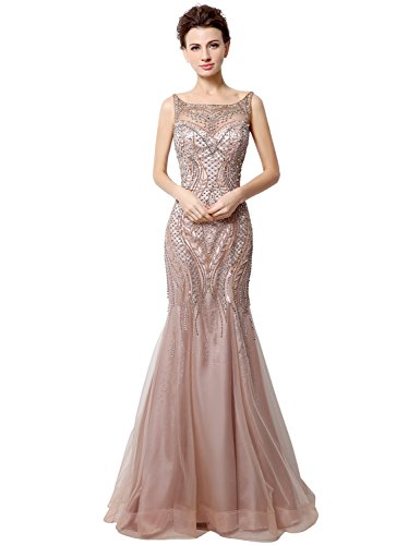 Beaded Ruched Bodice (anmor Women's Sexy Mermiad Prom Dresses Pleats Ruched Tulle Evening Party Gowns Blush US2)
