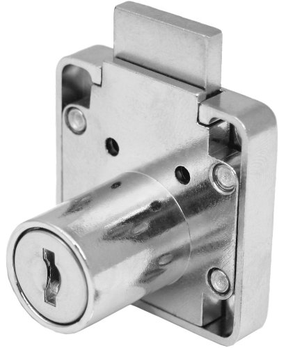 FJM Security 3754-KA Disc Tumbler Desk Lock with Chrome Finish, Keyed Alike - Open Desk Lock