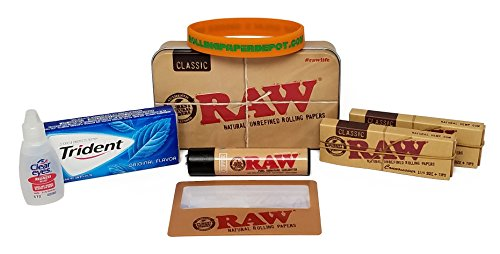Bundle - 8 Items - Smokers First Aid Kit (Standard) with RAW Rolling Papers and More