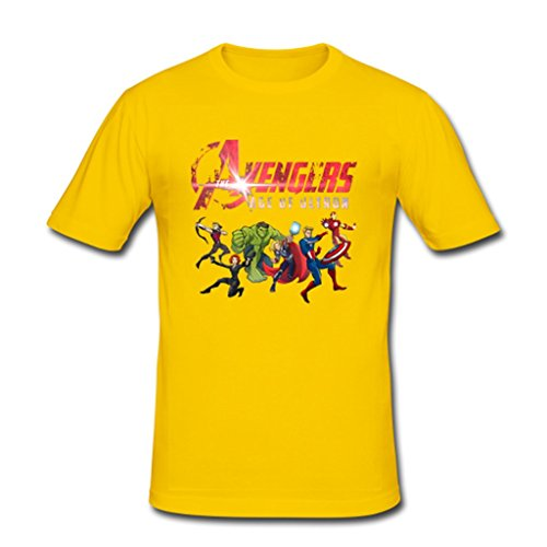 JIUDUIDODO Men's Marvel Avenger Age of Ultron T-Shirt L Gold