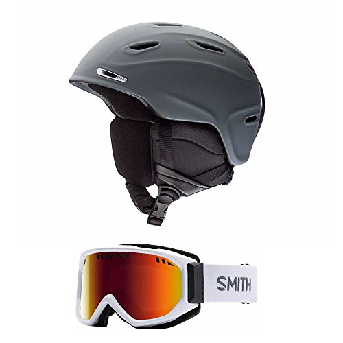 Smith Optics Charcoal Aspect Adult Ski/Snowmobile Helmet and Scope Snow Goggle (Choose Your Size and Goggles) (White, Red Sol X, - Optics Discount Smith