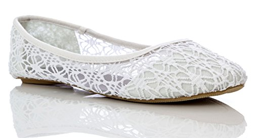 's Breathable Crochet Lace Ballet Flat in White Size: 6 ()
