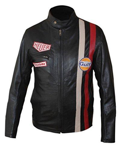 F&H Men's Steve McQueen Genuine Leather Jacket XL - Mcqueen Black Steve