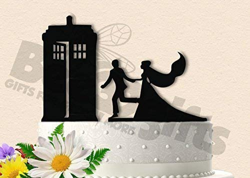 Antique Wedding Cake Toppers - Couple Running to Antique Police Box Wedding Cake Topper