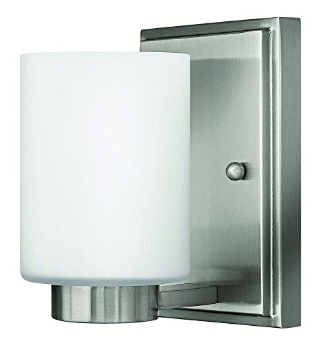 Hinkley 5050BN-LED Contemporary Modern One Light Bath Wall Sconce from Miley collection in Pwt, Nckl, B/S, Slvr.finish,