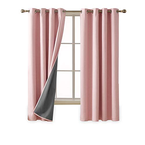 Deconovo Total Blackout Curtains Faux Linen 3 Pass Lined Blackout Panels for Living Room 52x72 Inch Pink 2 Panels