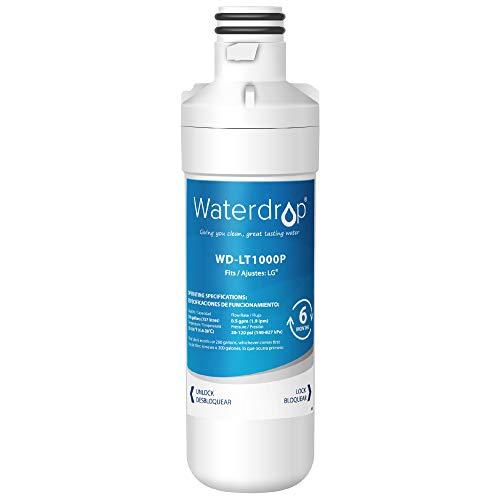 Waterdrop MDJ64844601 Refrigerator Water Filter, Compatible with LG LT1000P, LT1000PC, MDJ64844601, ADQ74793501, ADQ74793502, Kenmore 46-9980, 9980, LFXC24796S, LSFXC2496D