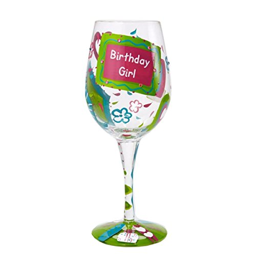 "Designs by Lolita ""Birthday Girl"" Hand-painted Artisan Wine Glass, 15 oz."