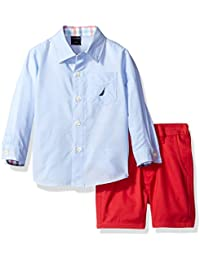 Nautica Boys' Long Sleeve Button Down and Flat Front Short Set