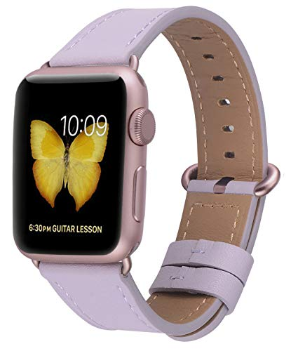 JSGJMY Compatible for Iwatch Band 38mm 40mm S/M Women Genuine Leather Loop Replacement Strap Compatible for iWatch Series 4 (40mm) Series 3 2 1 (38mm),Lavender with Rose Gold Clasp ()
