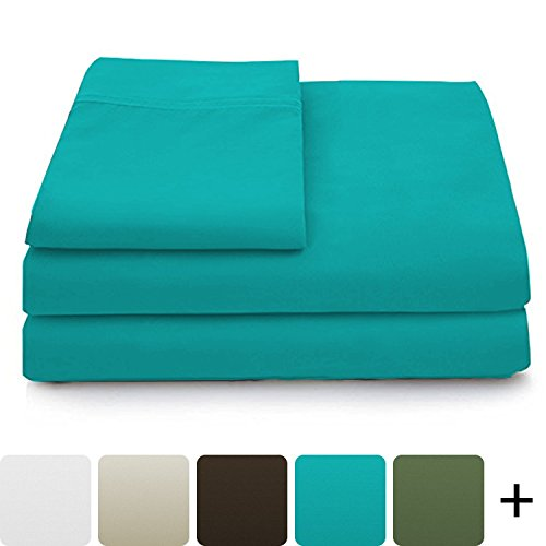 Cosy House Collection Luxury Bamboo Bed Sheet Set – Hypoallergenic Bedding Blend from Natural Bamboo Fiber – Resists Wrinkles – 4 Piece – 1 Fitted Sheet, 1 Flat, 2 Pillowcases – Queen, Turquoise