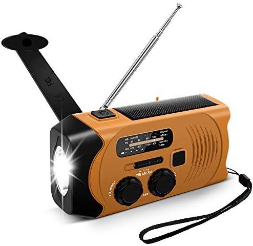 Outdoor Solar Radio, Multifunktion Tragbares Outdoor Radio Kurbelradio für Notfälle,mit AM/FM Wetter Radio, mit LED Taschenlampe/mit 2000mAh Eingebaute Batterie Power Bank, Notfall SOS Alarm (Orange)