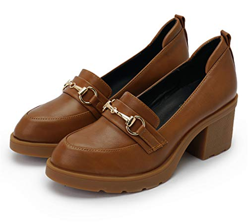 MAKEGSI Women's Platform Shoe Oxfords Chunky High Heel Thick Heel Shoes Dress Pumps (8, Brown-Metal Button)