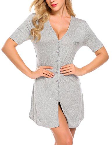Avidlove Women's Nightshirt Sexy Sleepwear Short Sleeve Button-Front Pajama Dress Grey