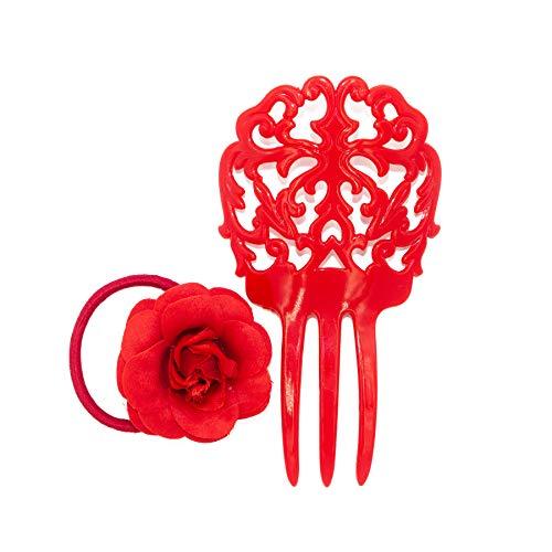 Comb Spanish - Ole Ole Flamenco Girl Comb for Hair Red with Hair Tie Flamenco Dancer Spanish Combs Peineta Flamenco Ornamental Hair Pins