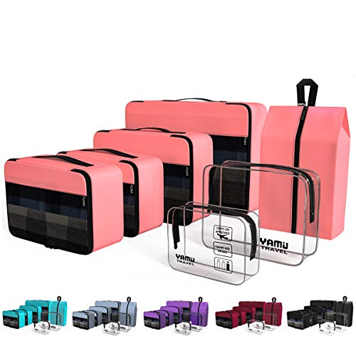 (YAMIU Packing Cubes 7-Pcs Travel Organizer Accessories with Shoe Bag & 2 Toiletry Bags(Pink))