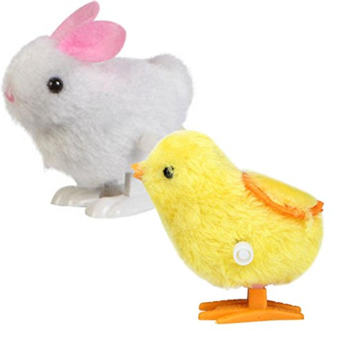 E-SCENERY Wind-Up Jumping Chick and Bunny, Plush Hopping Animal Toys Party Favors Novelty Toys Christmas Present Party Favors ()