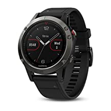 Garmin 010-N1688-10 Fenix 5 Refurbished, Black Sapphire with Black Band