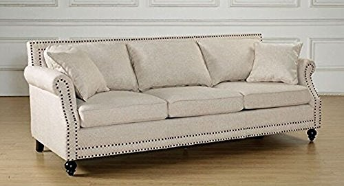 (Tov Furniture The Camden Collection Contemporary Linen Upholstered Living Room Sofa with Nailhead Trim, Beige)