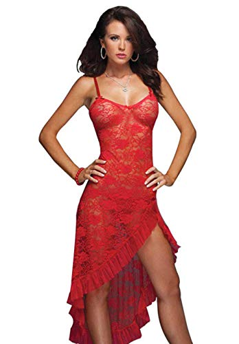 HiSexy Women's Sexy Boudoir Lingerie Set Long Adjustable Strappy Dress See-Through Lace Negligee Chemise (XXX-Large, -