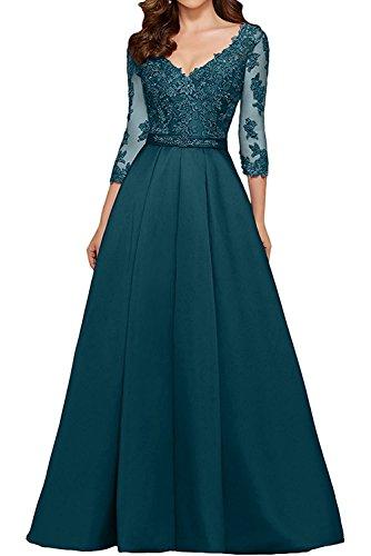 Festlichkleider Rock 4 Dunkel Lang La Braut 3 Brautmutterkleider Abendkleider Blau Damen Spitze Satin mit Langarm Marie AUpwqSf