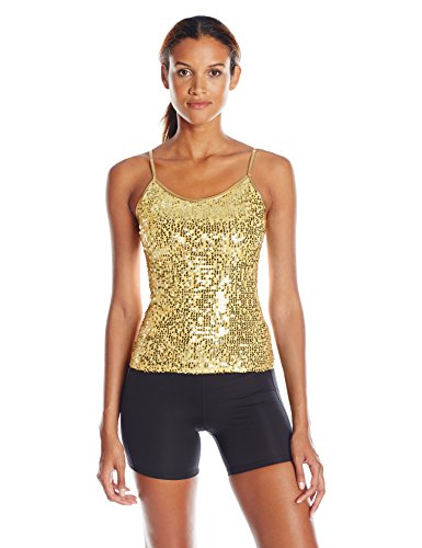 Jazz Dance Costume Tops (Gia-Mia Dance Women's Sequin Camisole Yoga Jazz Hip Hop Costume Performance Team, Gold, M)