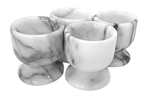 Creative Home Natural White Marble Egg Cup, Set of 4 -