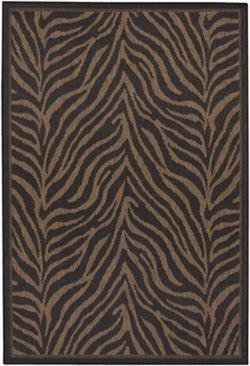 picture of Couristan 1514/0121 Recife Zebra Black/Cocoa Rug, 2-Feet by 3-Feet 7-Inch