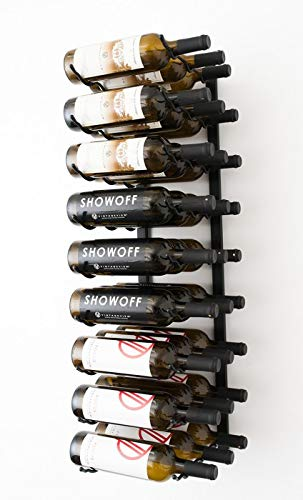 (VintageView Wall Series- 27 Bottle Wall Mounted Wine Rack (Satin Black) Stylish Modern Wine Storage with Label Forward Design)