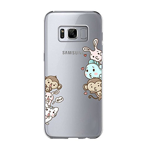 Matop Compatible/Replacement for Galaxy S8 Case Crystal Clear Transparent Ultra Thin Slim Shockproof Protective Soft Silicone Cute TPU for Samsung Galaxy S8 Bumper Cover (Animals Monkey) ()