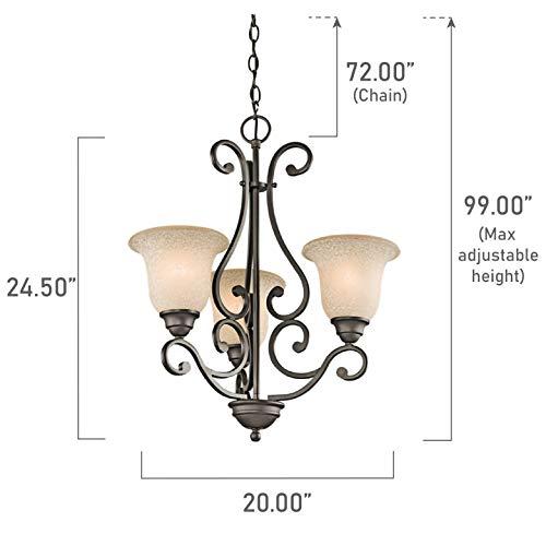 Kichler 43223OZ Camerena Chandeliers Lighting, Olde Bronze 3-Light 20 W x 25 H 300 Watts